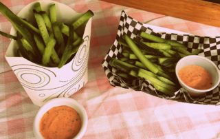 Strawberry dip with cucumber fries