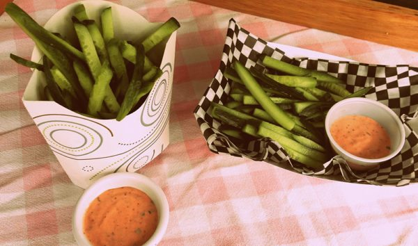 Strawberry dip and cucumber fries